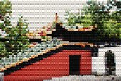 abstract mosaic style Chinese garden background