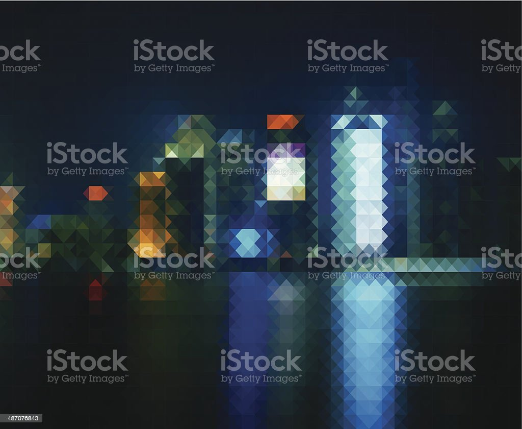 abstract mosaic style city in night pattern background vector art illustration