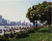 abstract mosaic style city landscape background
