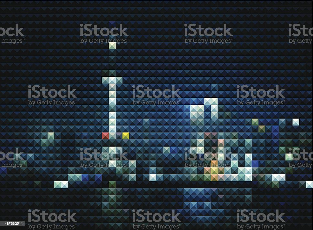 abstract mosaic style Shanghai skyline in night background royalty-free stock vector art
