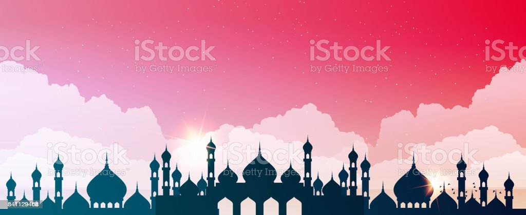 Abstract mosque against the sky with clouds vector art illustration