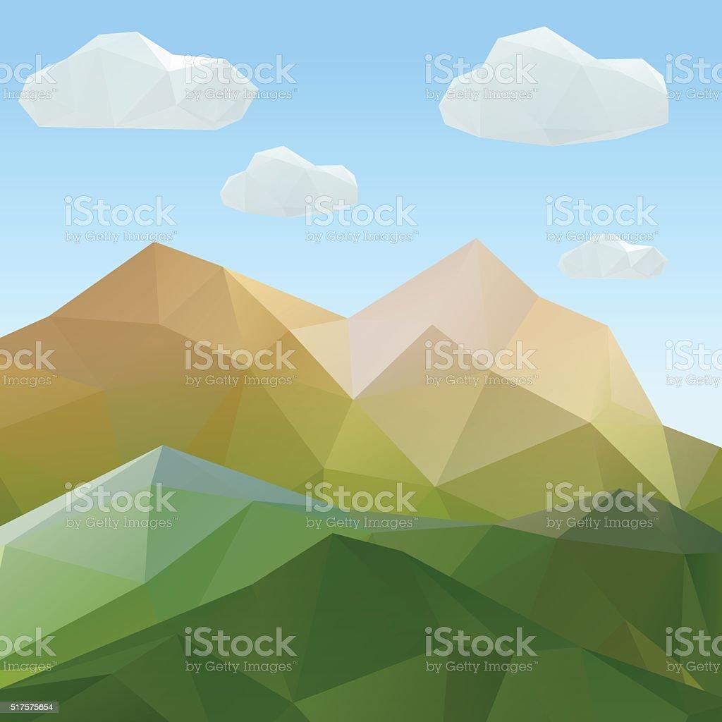 Ilustración de Resumen De Origami Paisaje De Montaña Poligonal ...