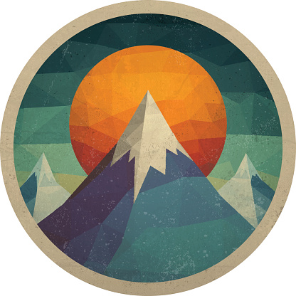 Abstract mountain landscape of the triangles with the sun. Vector illustration.