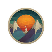 Abstract mountain landscape with a Rocket of the triangles with the sun. Vector illustration. Abstract landscape of the triangles with the sun. Red rocket takes off from the space base. The launch into space. Start up concept vector.