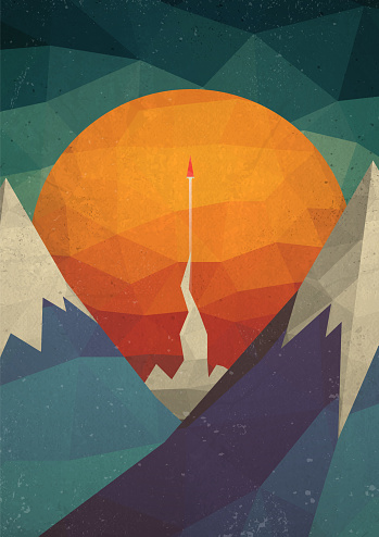 Abstract Mountain Landscape with a Rocket of Triangles