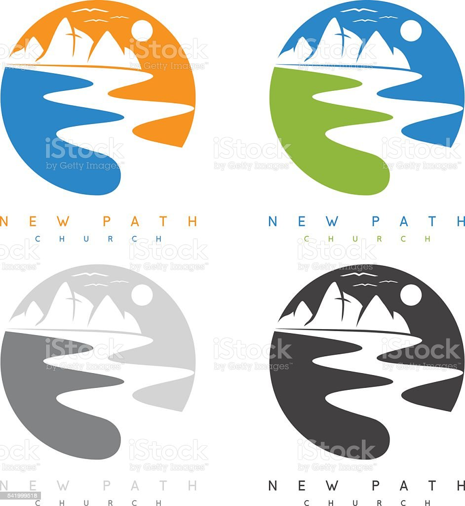 abstract mountains and river in new path church concept vector art illustration