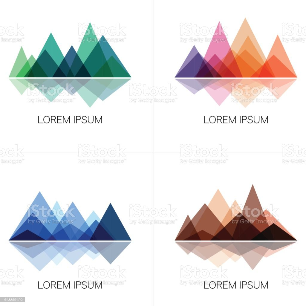 Abstract mountains in geometric style vector art illustration