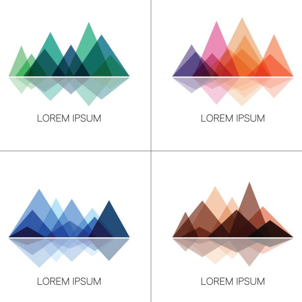 Abstract mountains in geometric style Set of stylish outdoor logo templates. Vector design elements for hiking and outdoor concept. mountain peak stock illustrations