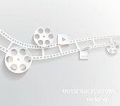 Abstract movie background. 3d paper design.