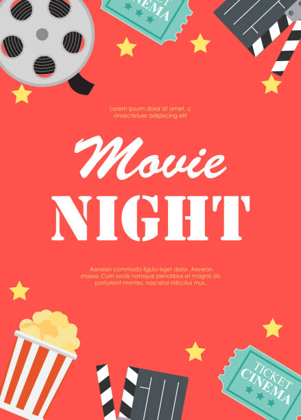 abstract movie night cinema flat background with reel, old style ticket, big pop corn and clapper symbol icons. vector illustration - movies stock illustrations