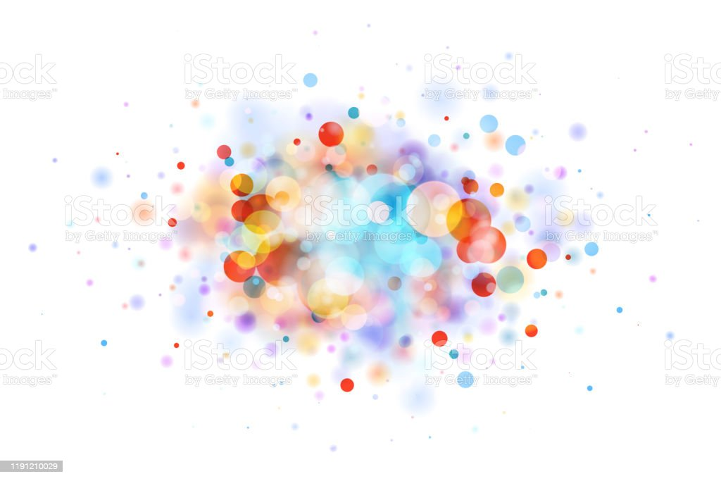 Abstract multicolor blob on white made from defocused circles Abstract vector multicolor bokeh background on white background. The eps file is organised into layers for better editing. Abstract stock vector