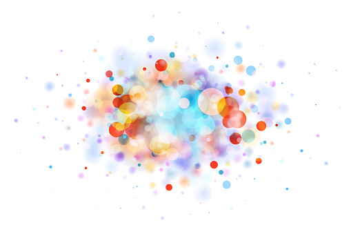 Abstract multicolor blob on white made from defocused circles