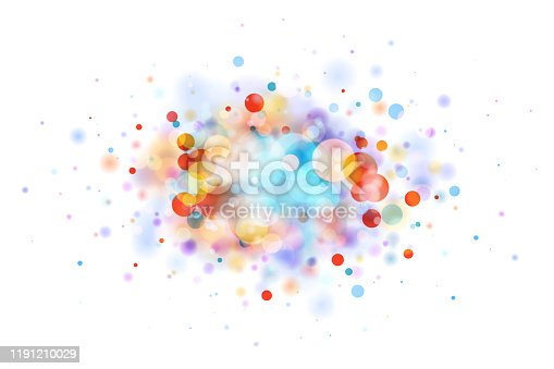 Abstract vector multicolor bokeh background on white background. The eps file is organised into layers for better editing.