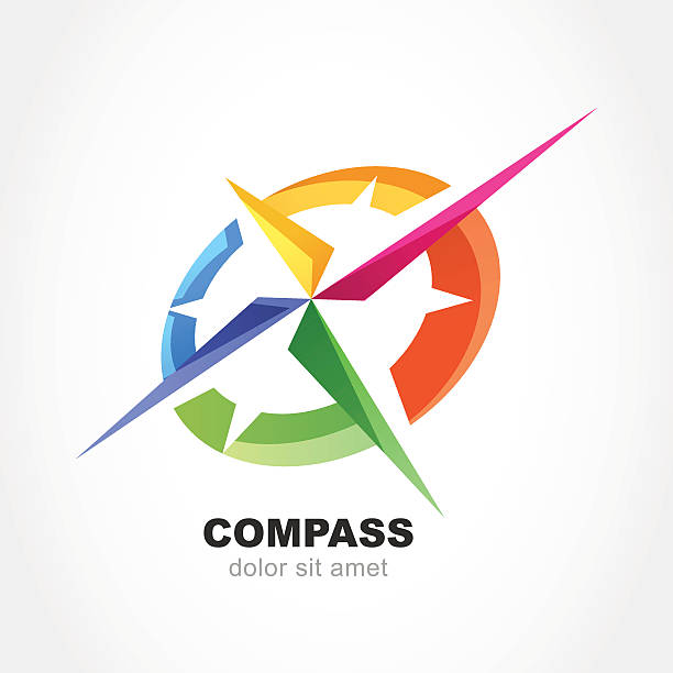 Abstract multicolor compass symbol. Vector logo design template. vector art illustration