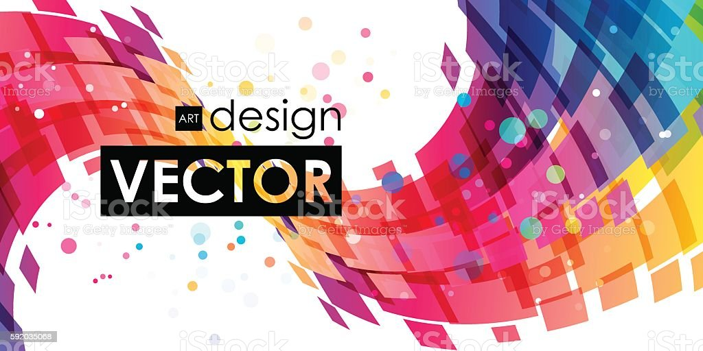 Abstract multicolor curve on white background vector art illustration