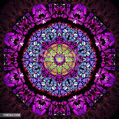 Abstract colorful fantacy purple blue green kaleidoscope pattern background