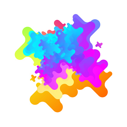 Abstract Multicolor Liquid Shapes Element