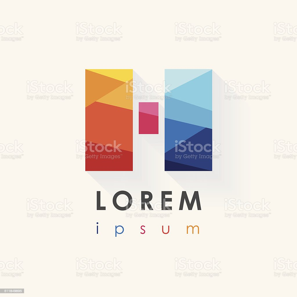abstract multicolor logo design letter h isolated on white vector art illustration