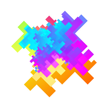 Abstract Multicolor Squares Shapes Element
