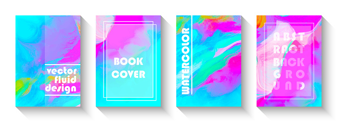 Abstract Multicolored Fluid Background Design Set. Artistic Covers Design. Watercolor Brush Stroke Design Element. Liquid marble texture.