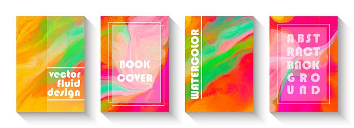 Abstract Multicolored Fluid Background Design Set. Artistic Covers Design. Watercolor Brush Stroke Design Element. Liquid marble texture. Creative fluid colors backgrounds.