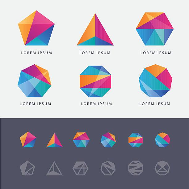 stockillustraties, clipart, cartoons en iconen met abstract multicolored geometric polygon shape logo design marks - achthoek