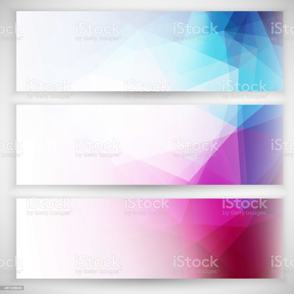 Abstract multicolored geometric triangular banner set vector art illustration