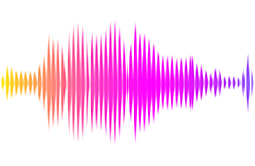 Abstract multicolored sound wave with lines.