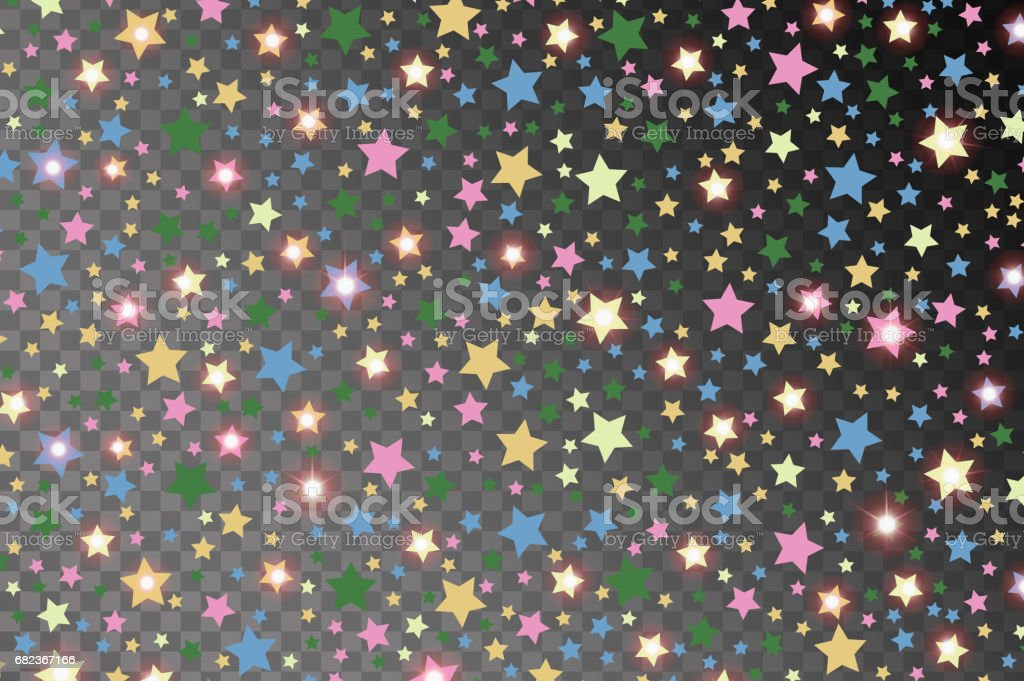 Abstract multicolored starfall effect pattern isolated on transparent background. Vector illustration abstract multicolored starfall effect pattern isolated on transparent background vector illustration - stockowe grafiki wektorowe i więcej obrazów brokat - wyposażenie artysty i rzemieślnika royalty-free