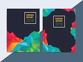 Abstract multipurpose corporate annual report on low poly layout