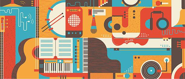 stockillustraties, clipart, cartoons en iconen met abstract music background flat vector illustration - tamboerijn