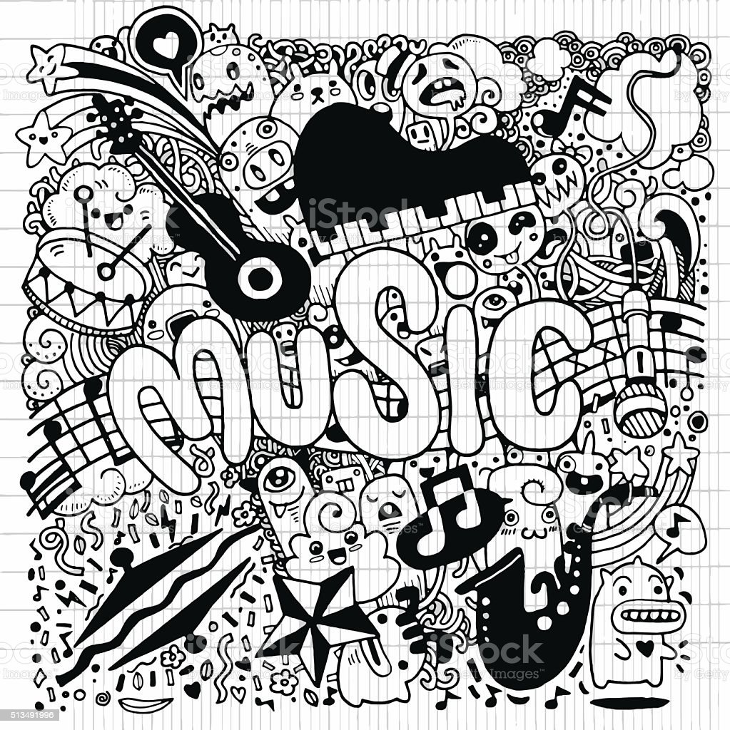 Abstract Music Background Hand Drawing Doodlevector Illustratio