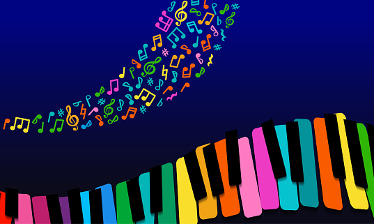 abstract Music background. rainbow paper piano keys on blue background.