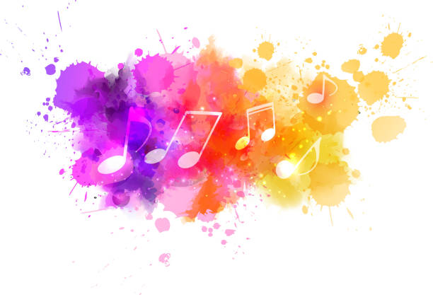 abstrakte musik hintergrund - musiksymbole stock-grafiken, -clipart, -cartoons und -symbole