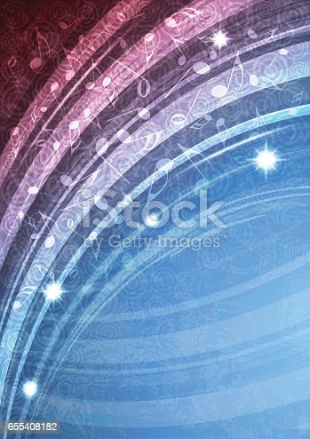 Abstract blue music vector background illustration. All elements can be easily removed if needed.