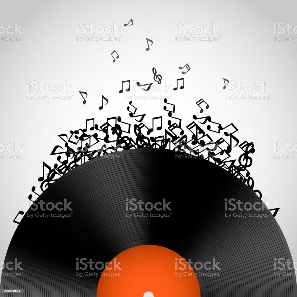 Abstract music background. Vinyl disk vector art illustration
