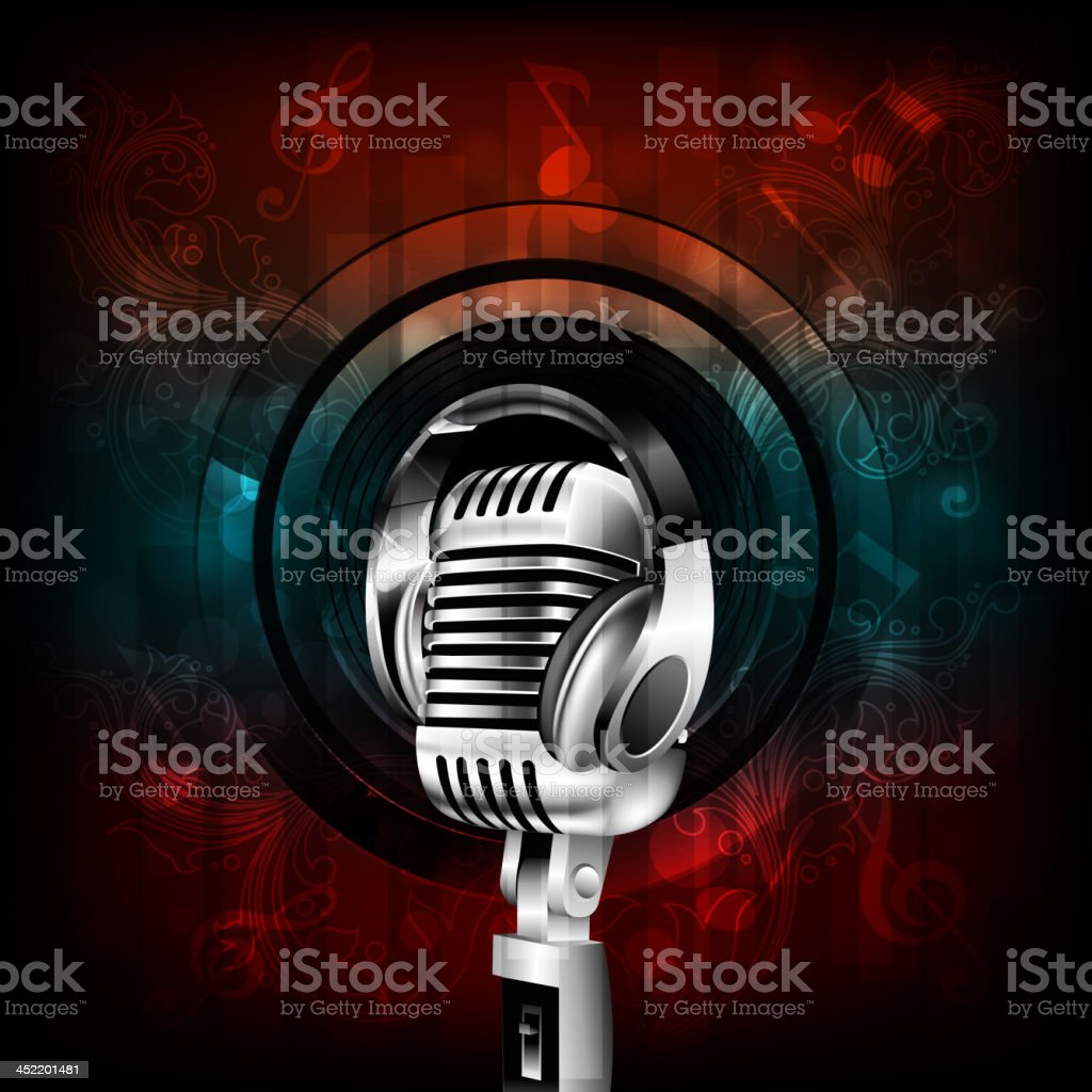 Abstract Music Background with Microphone and head phone vector art illustration