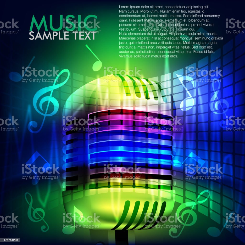 Abstract Music Background with Microphone royalty-free abstract music background with microphone stock vector art & more images of abstract