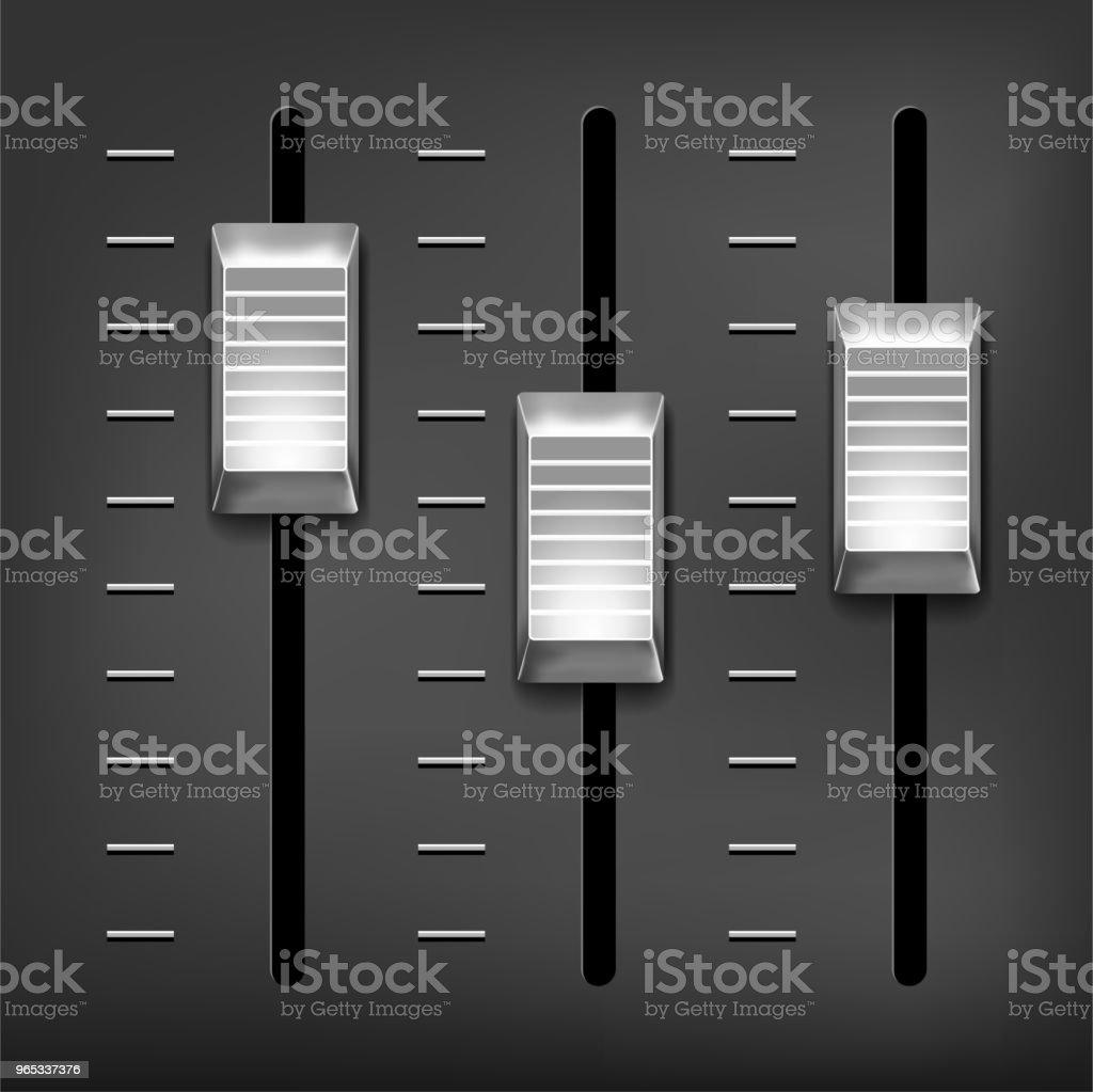 Abstract music equalizer - silver metal sliders on gray background abstract music equalizer silver metal sliders on gray background - stockowe grafiki wektorowe i więcej obrazów abstrakcja royalty-free