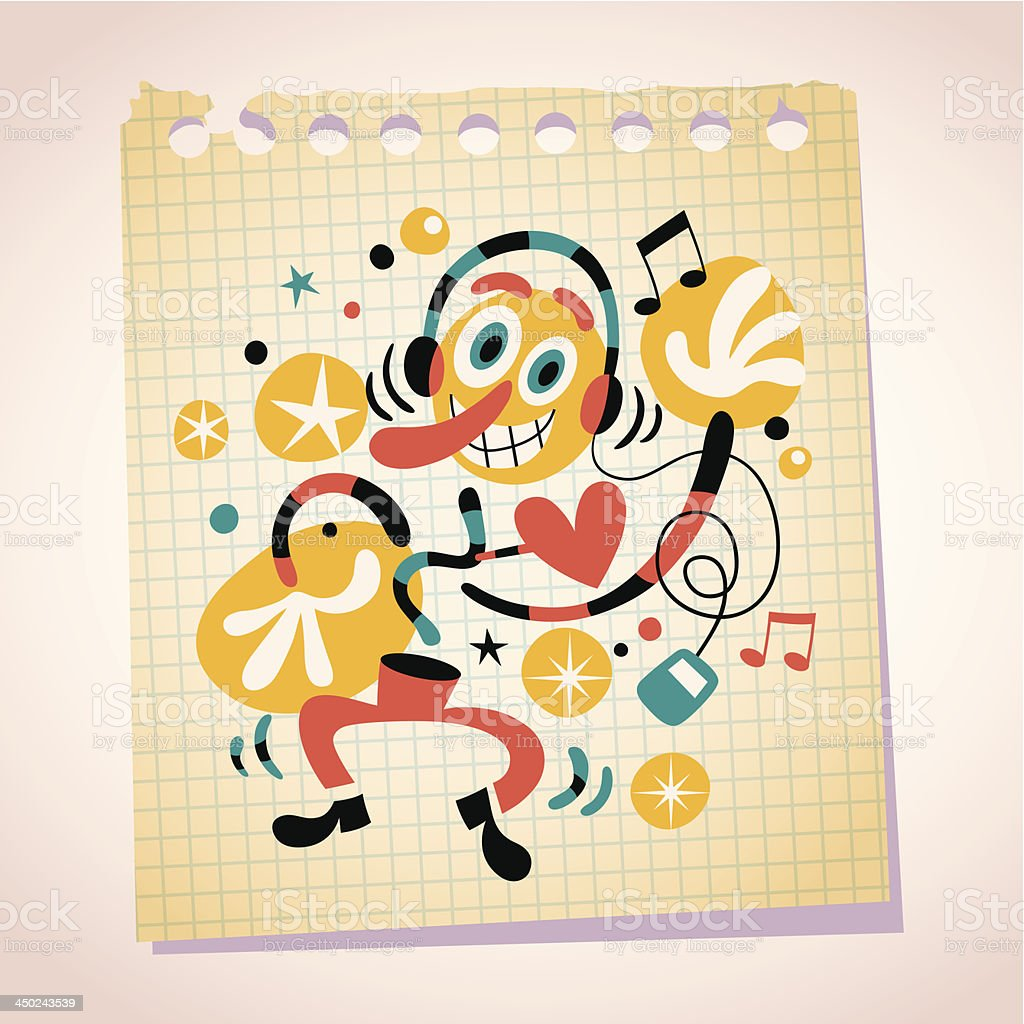 Abstract Music Fan With Headphones Note Paper Cartoon Illustration ...