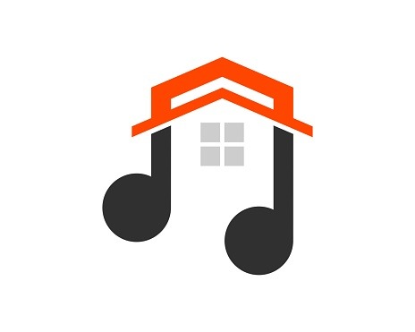 abstract Music note with simple house inside