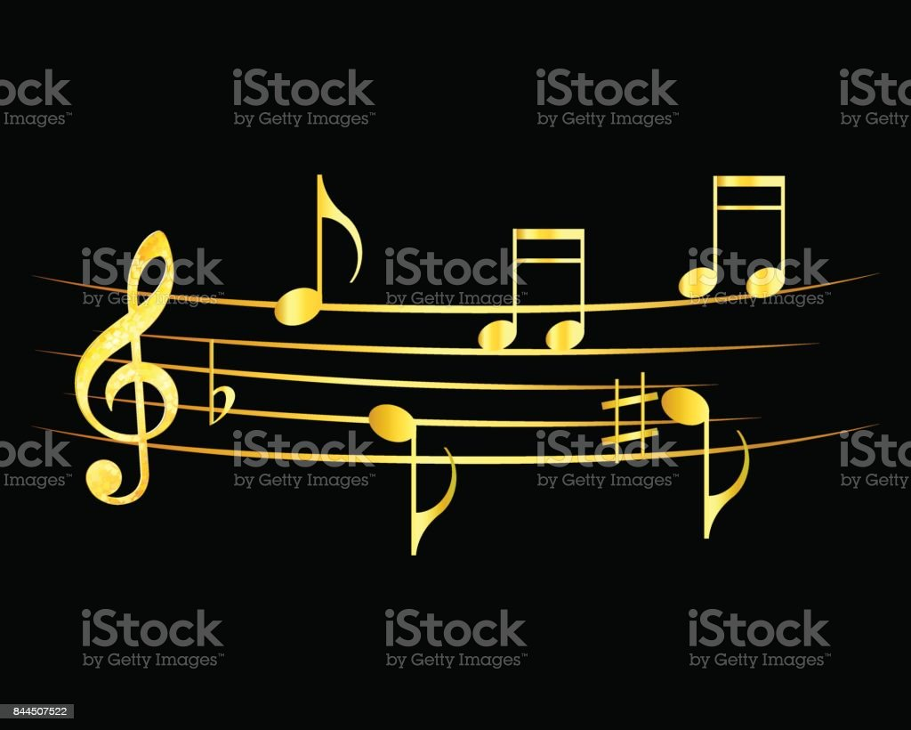 Abstract Music Notes Design Music Notes Gold On A Black