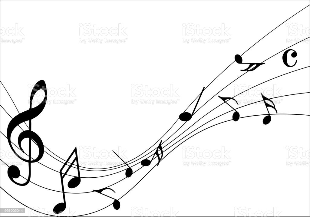 Abstract music notes on line wave background. Black G-clef and music...