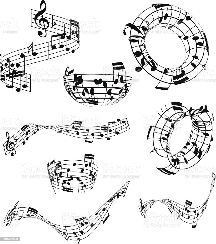 Abstract music notes vector art illustration