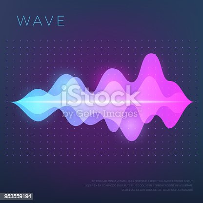 Abstract music vector background with sound voice audio wave, equalizer waveform. Voice audio, track equalizer sound illustration