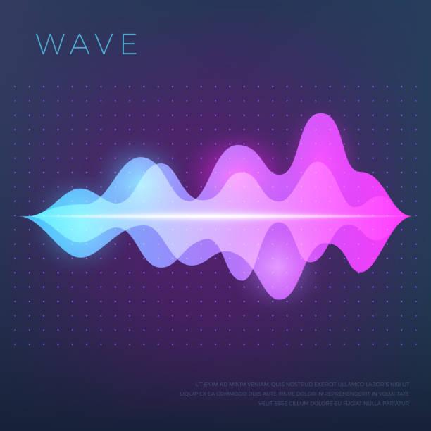 サウンド音声オーディオ波、イコライザー波形と抽象的な音楽のベクトルの背景 - 音響点のイラスト素材/クリップアート素材/マンガ素材/アイコン素材