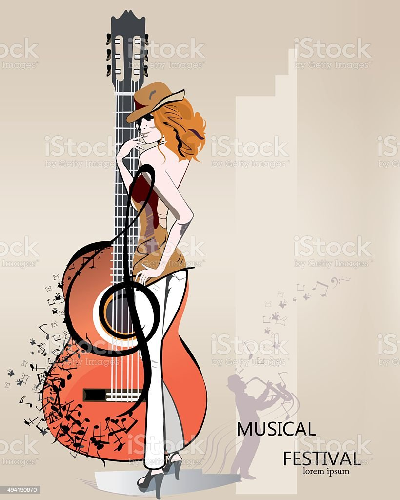Abstrait fond musical avec la mode fille dans un chapeau. - Illustration vectorielle