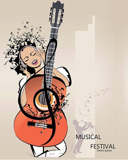 Abstrait fond musical avec une fille dans les écouteurs. - Illustration vectorielle