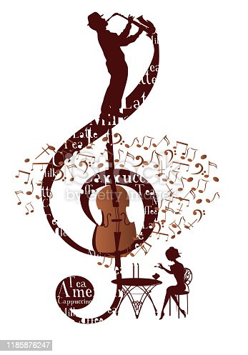 istock Abstract musical design with a treble clef and coffee beans. 1185876247