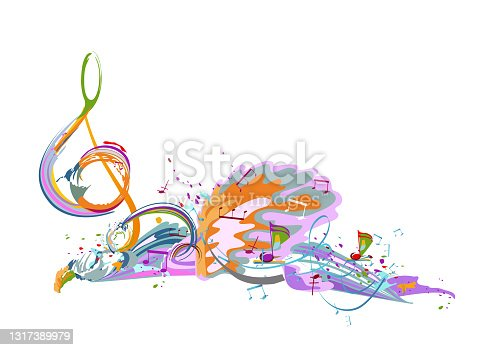 istock Abstract musical design with a treble clef and musical waves. 1317389979